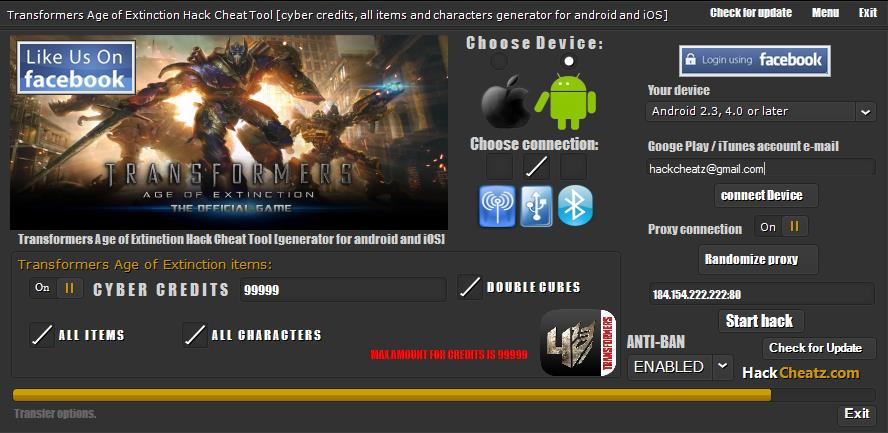 Transformers Age of Extinction Hack Cheat Tool